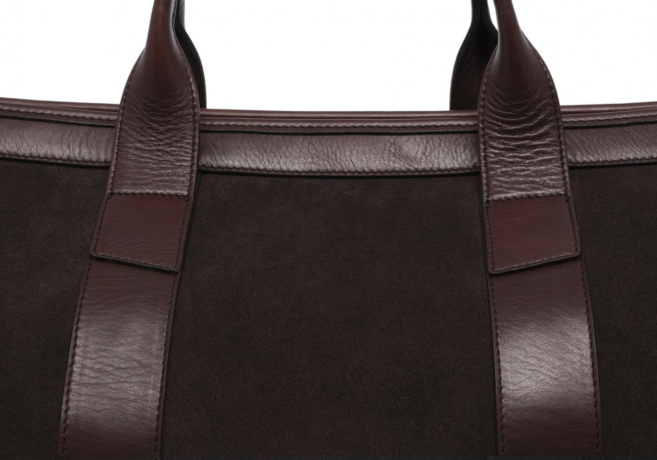 Leather Duffle Bag Suede Chocolate Suede5