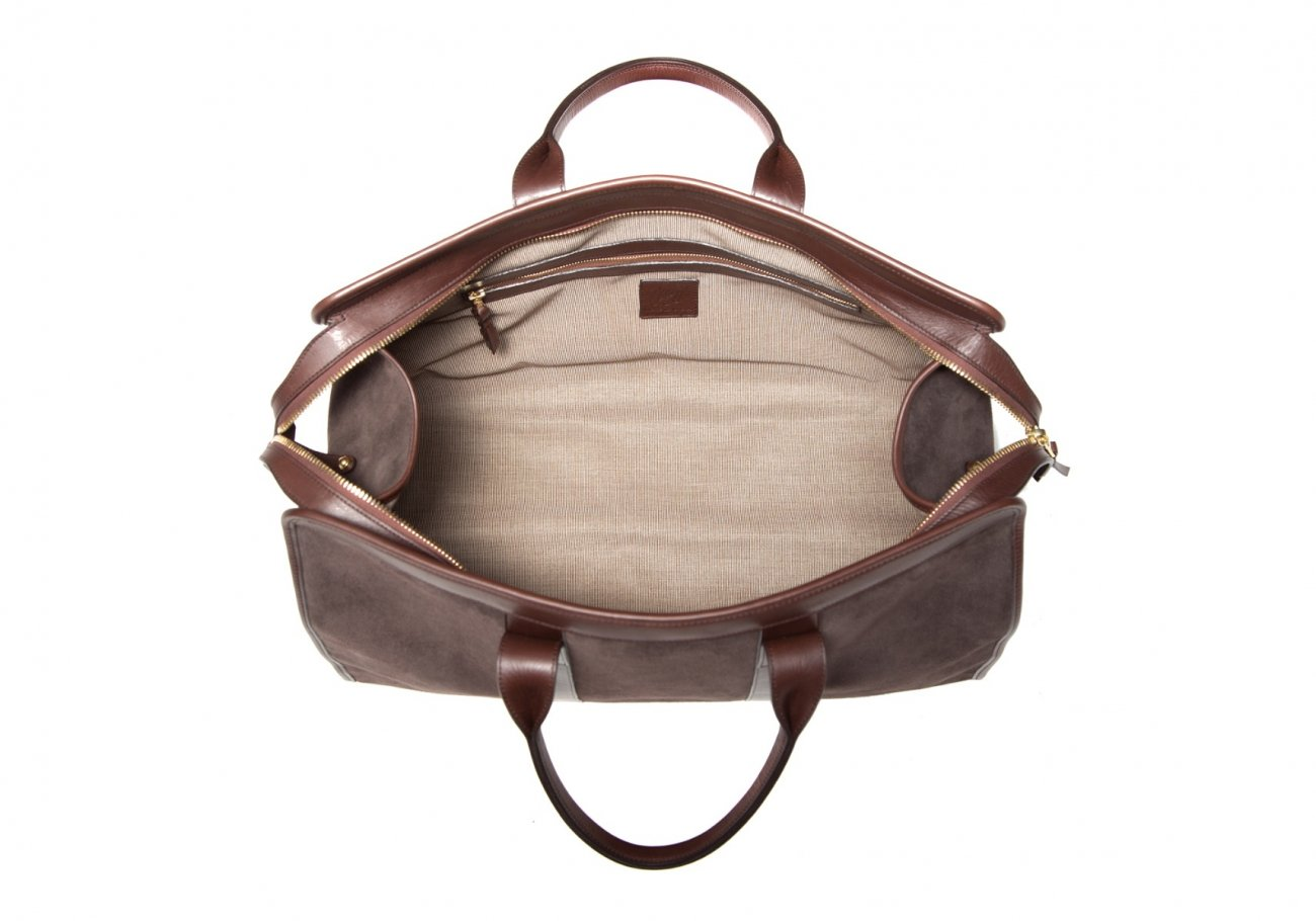 Leather Duffle Bag Suede Chocolate Suede6 1
