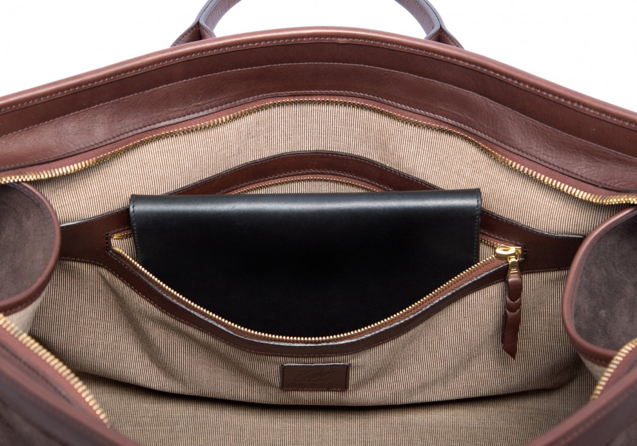 Leather Duffle Bag Suede Chocolate Suede7