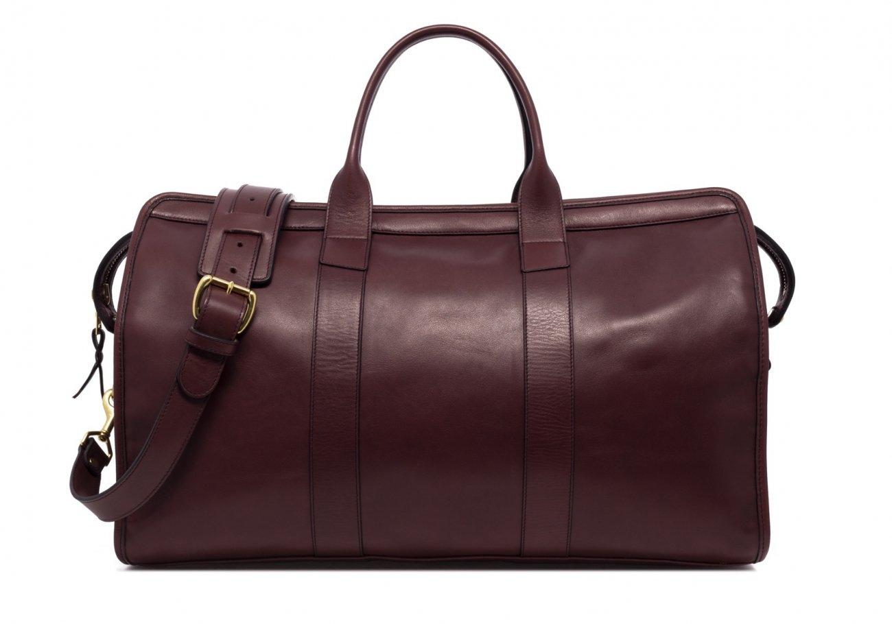Leather Duffle Bag Tumbled Burgundy Leather 1