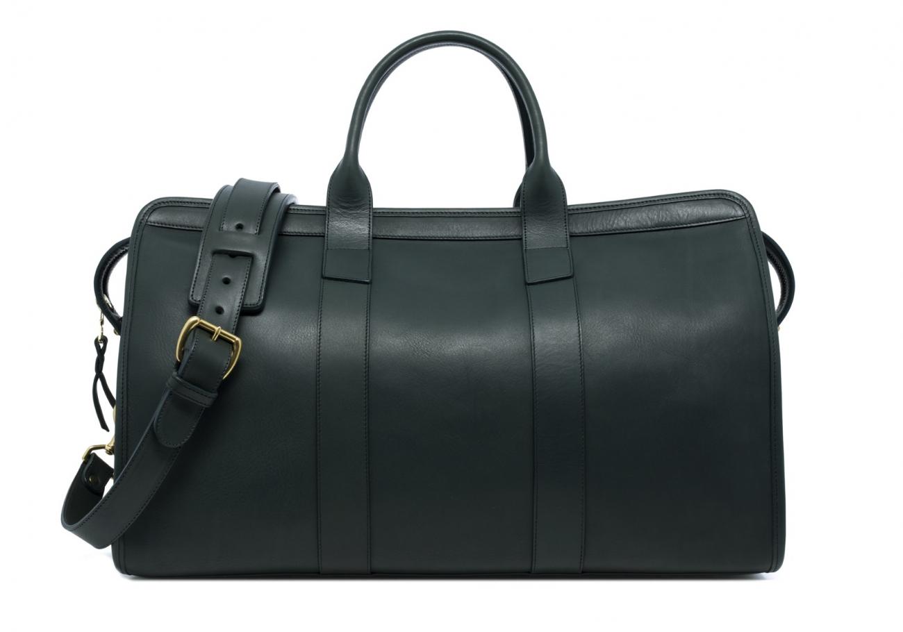 Leather Duffle Bag Tumbled Green 1