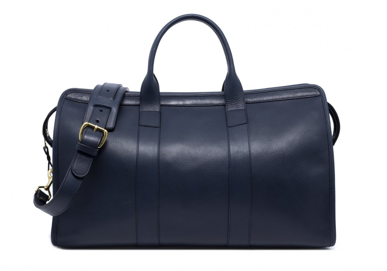 Leather Duffle Bag Tumbled Navy Leather 2 1