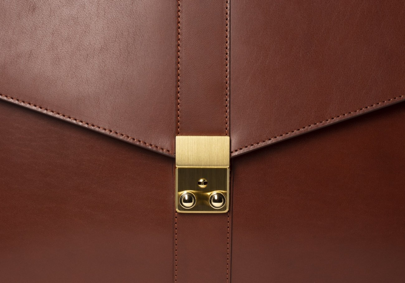 Leather Lock Briefcase Chestnut Leather 1
