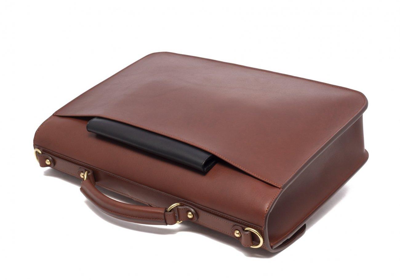 Leather Lock Briefcase Chestnut Leather 2
