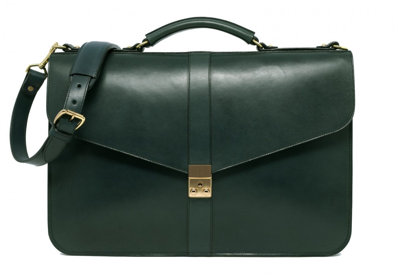 Leather Lock Briefcase Green Leather 3