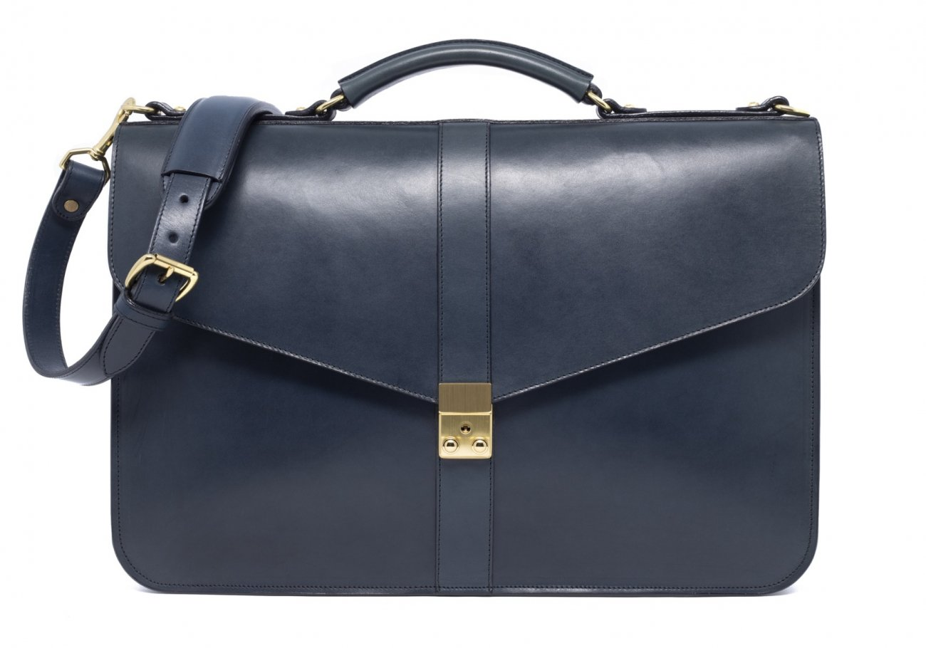 Leather Lock Briefcase Navy Leather 6