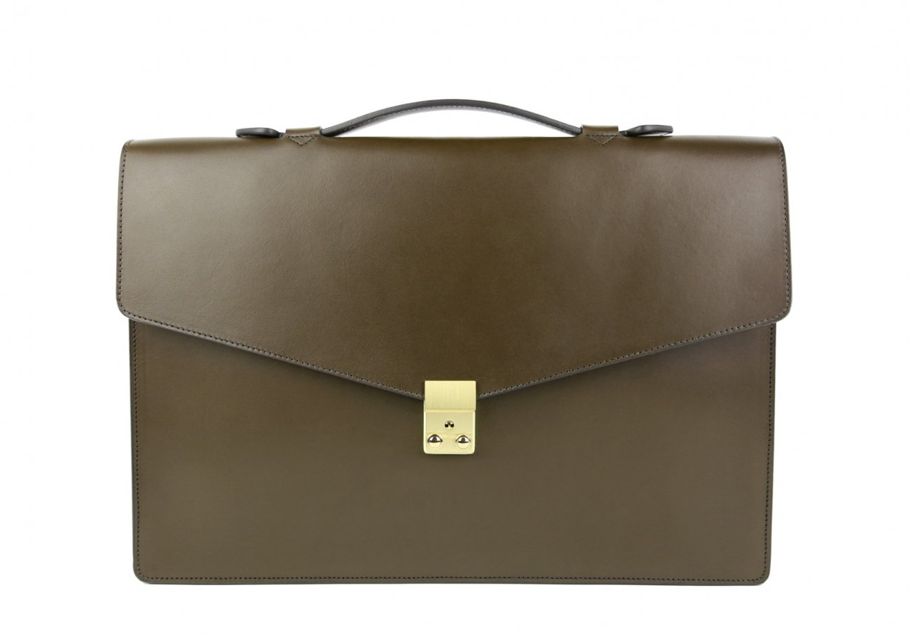 Leather Portfolio Briefcase Olive Frank Clegg 6