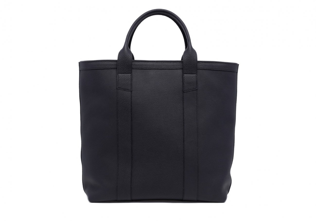 Leather Tall Tote Black Shrunken Calf Leather1