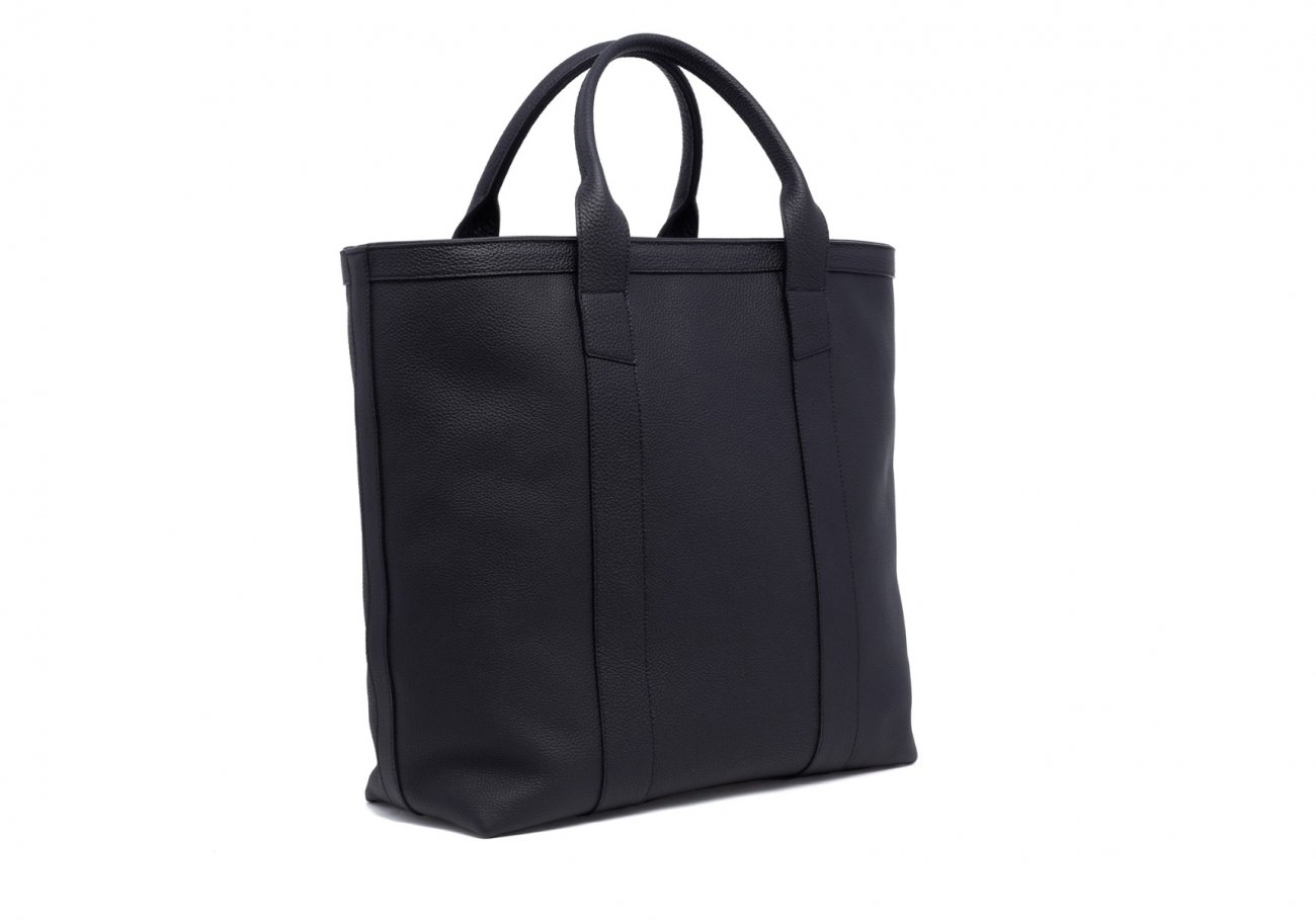 Leather Tall Tote Black Shrunken Calf Leather2