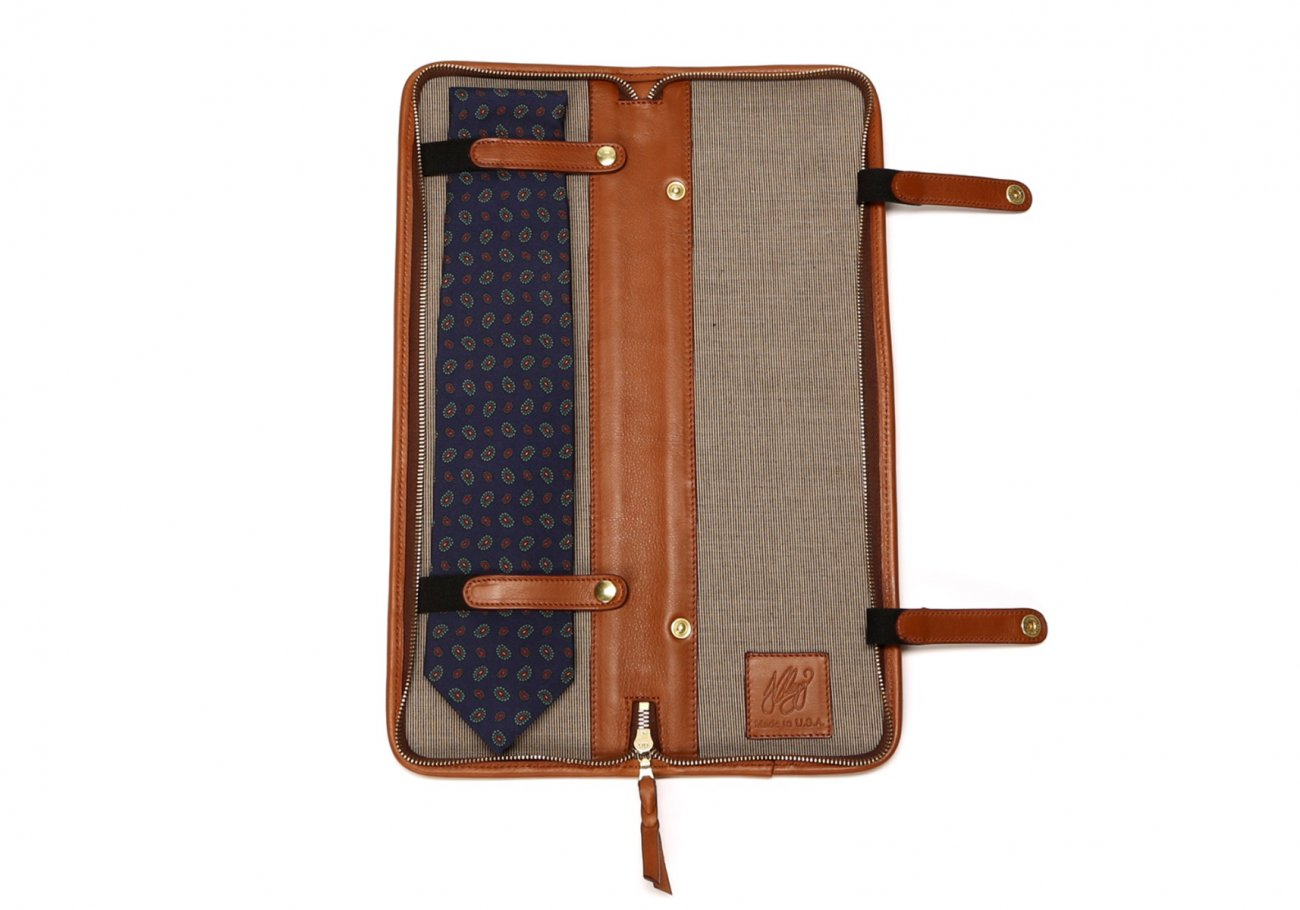 Leather Tie Case Cognac Made In Usa Frank Clegg3
