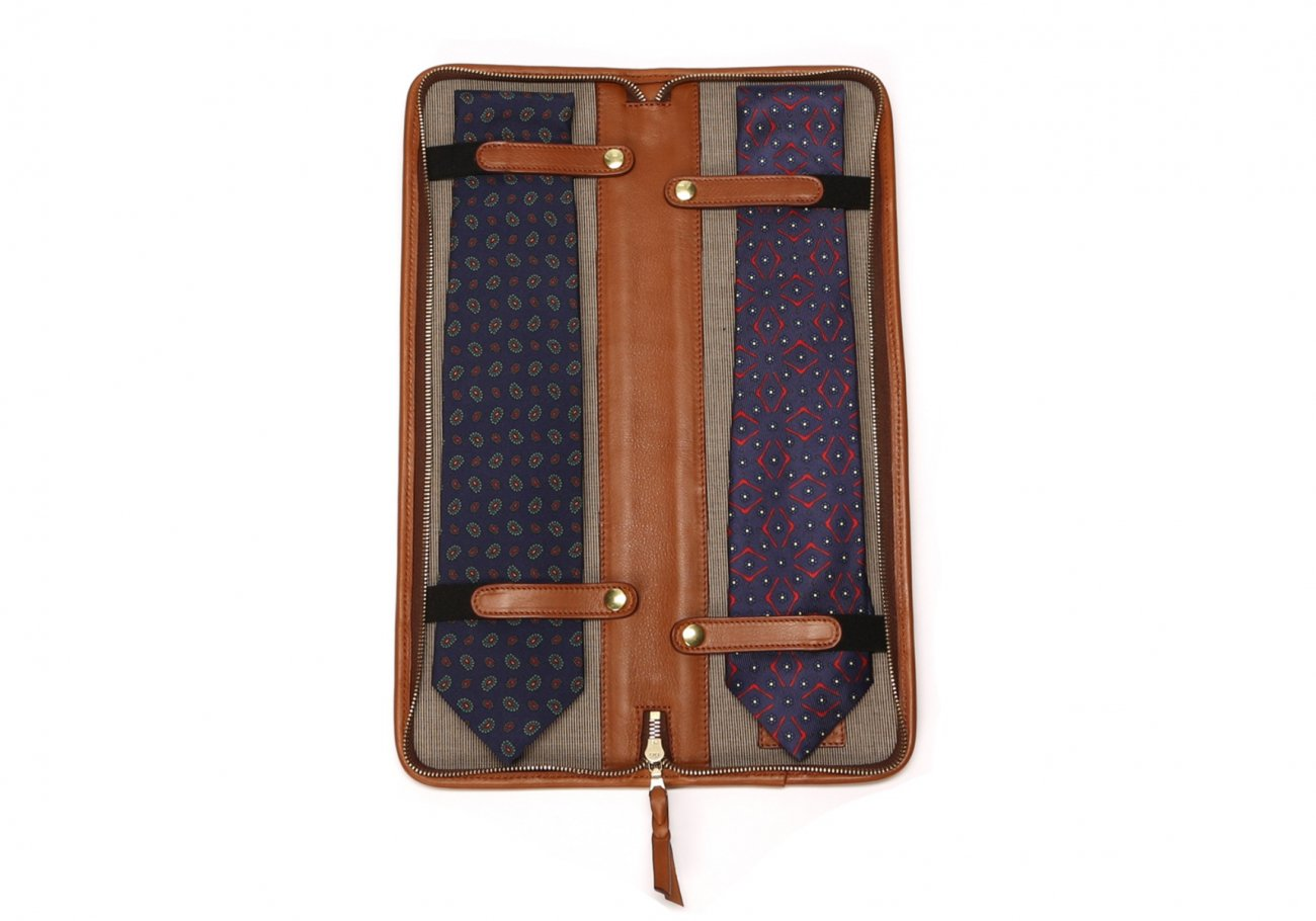 Leather Tie Case Cognac Made In Usa Frank Clegg4