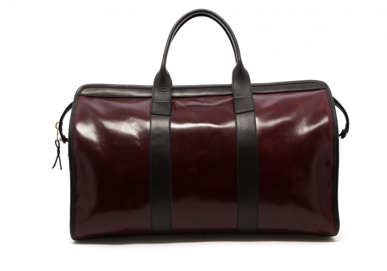Leather Travel Duffle Maroon And Black Glossy 2