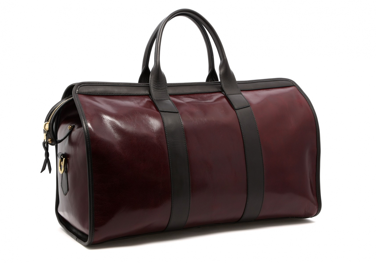 Leather Travel Duffle Maroon And Black Glossy 3