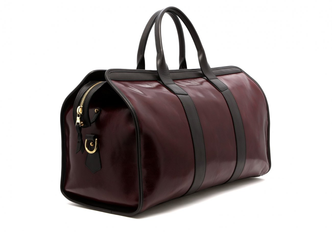 Leather Travel Duffle Maroon And Black Glossy 4