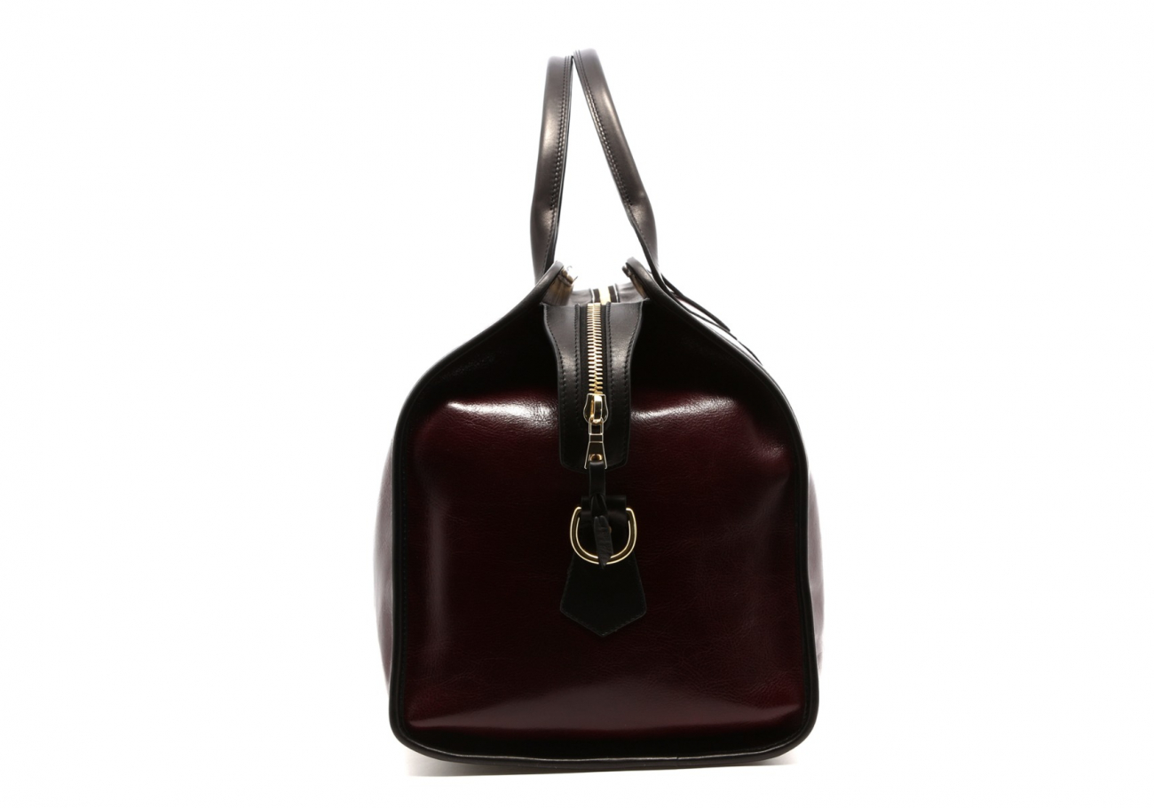 Leather Travel Duffle Maroon And Black Glossy 5