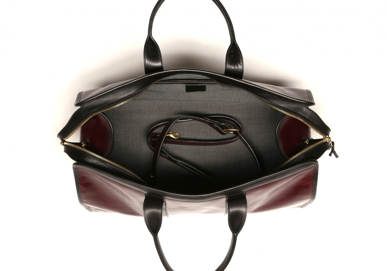 Leather Travel Duffle Maroon And Black Glossy 6