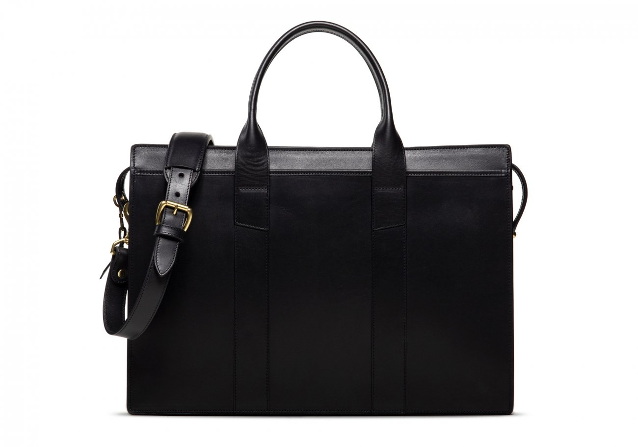 Leather Zip Top Briefcase Double Black2