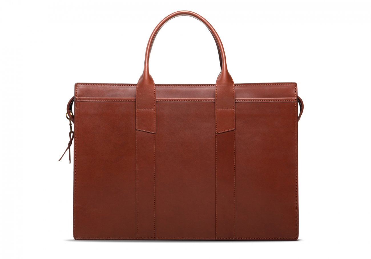 Leather Zip Top Briefcase Double Chestnut1