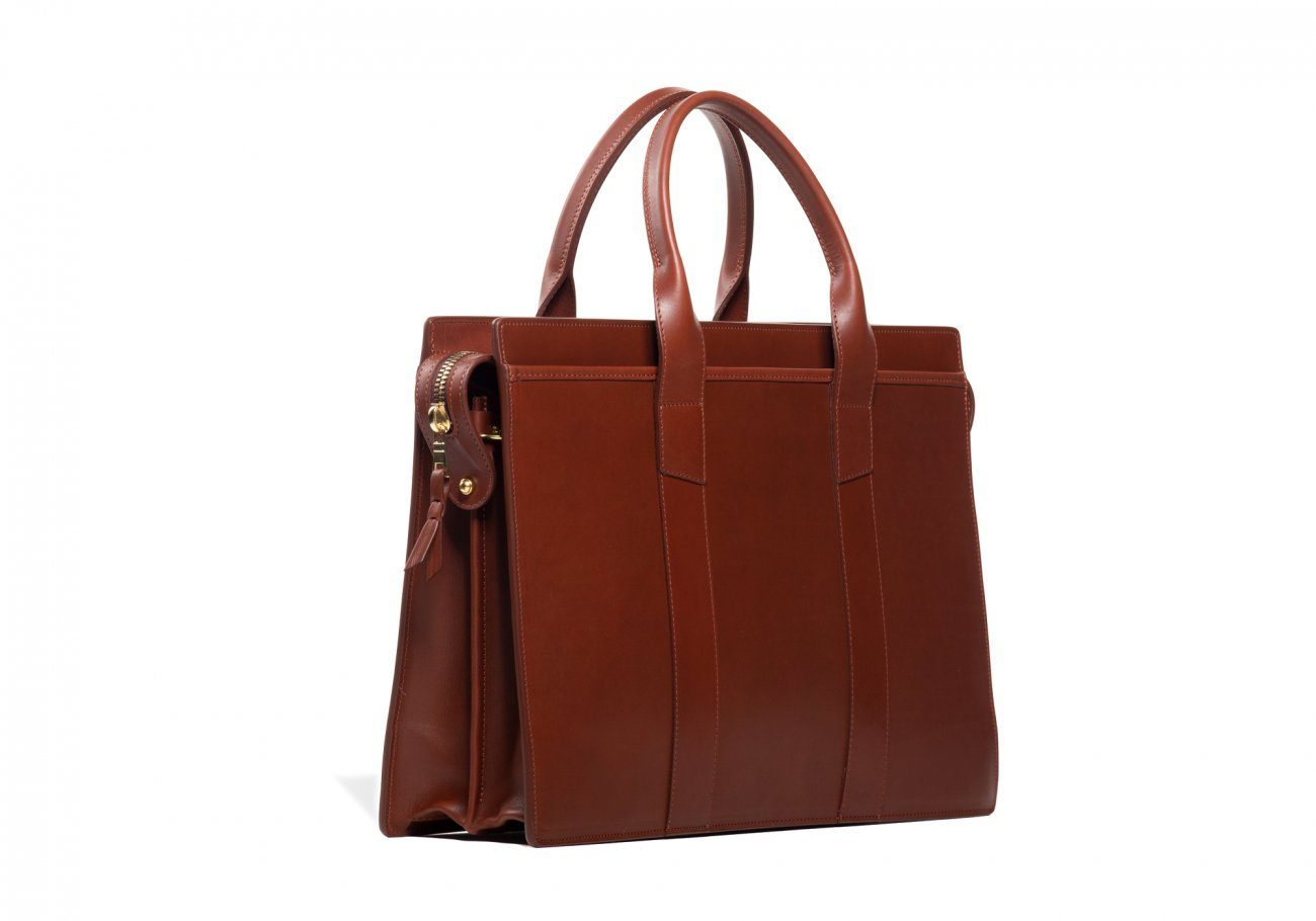Leather Zip Top Briefcase Double Chestnut11