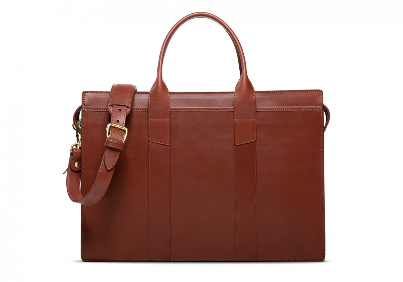 Leather Zip Top Briefcase Double Chestnut2