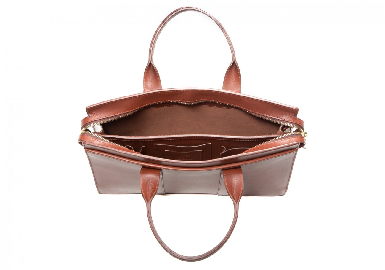 Leather Zip Top Briefcase Double Chestnut3