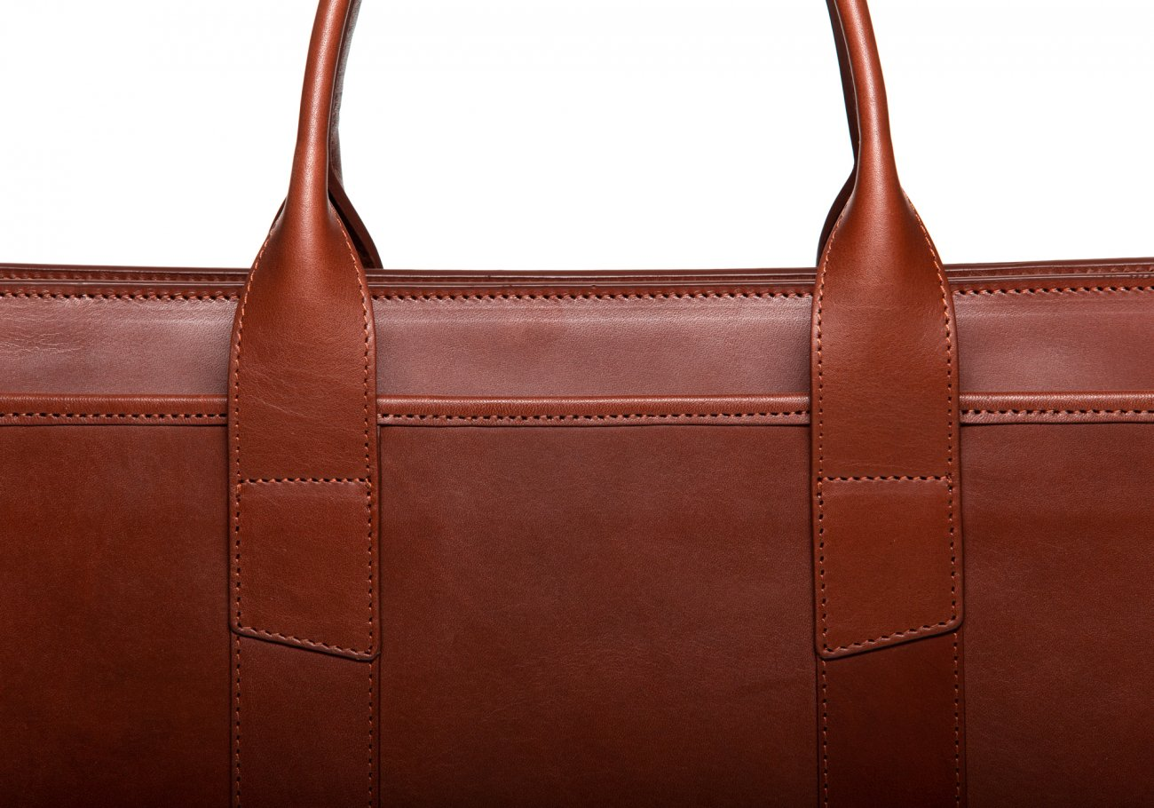 Leather Zip Top Briefcase Double Chestnut4