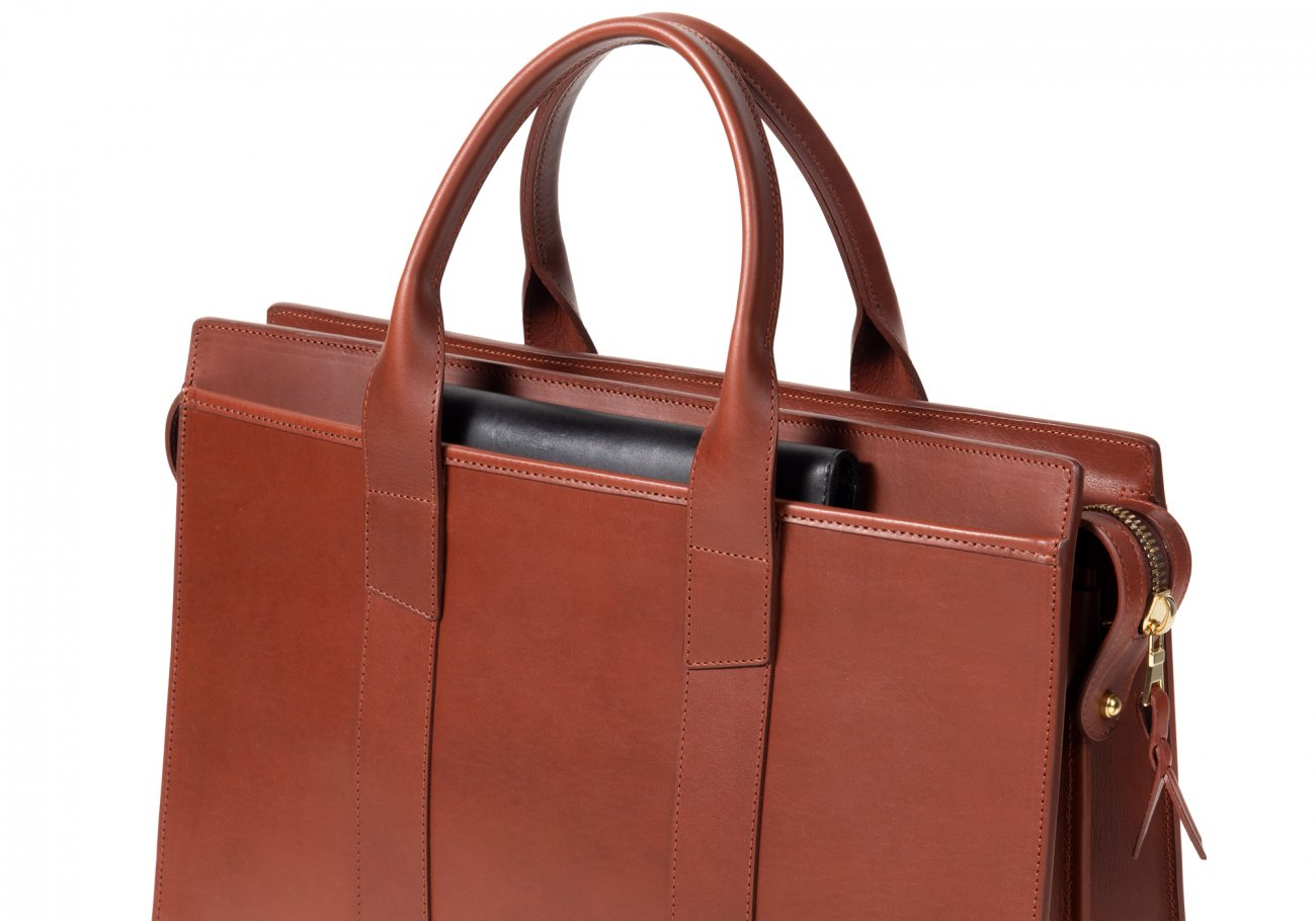 Leather Zip Top Briefcase Double Chestnut6