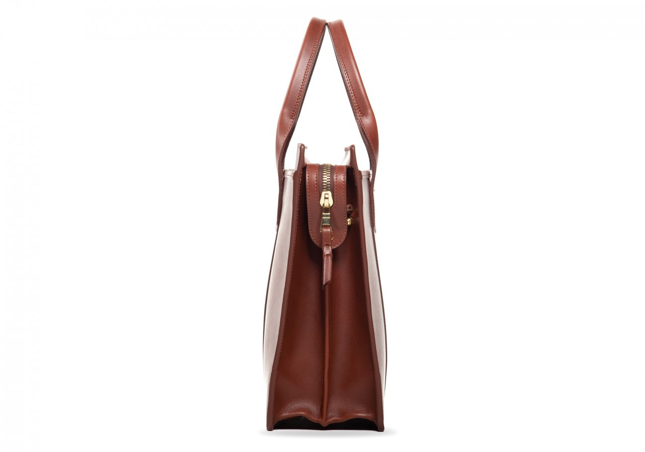 Leather Zip Top Briefcase Double Chestnut7