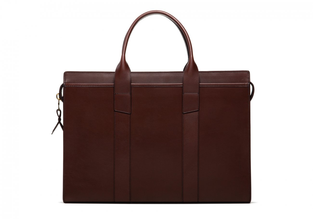 Leather Zip Top Briefcase Double Chocolate1