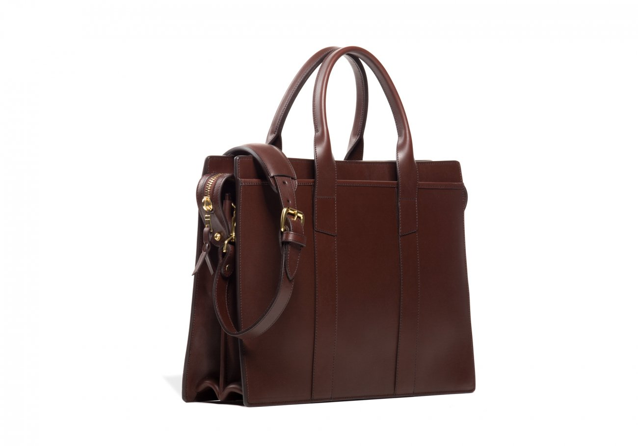 Leather Zip Top Briefcase Double Chocolate10