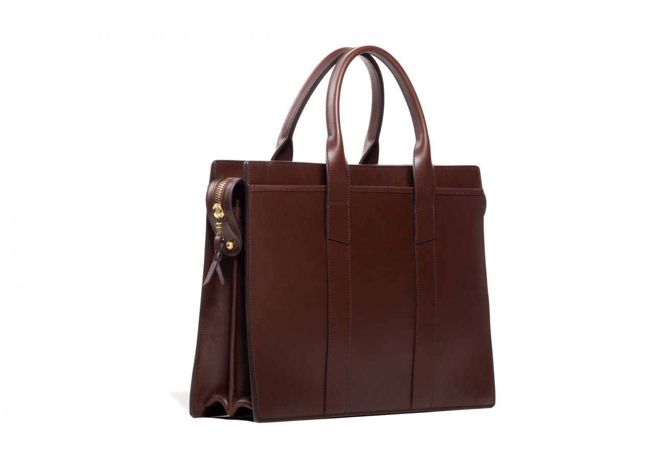 Leather Zip Top Briefcase Double Chocolate11