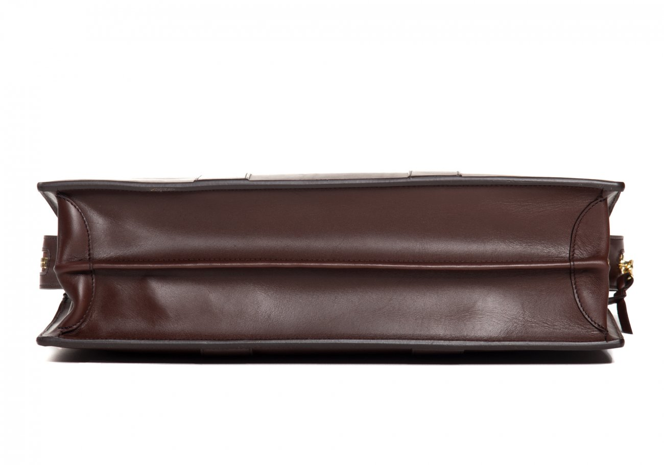 Leather Zip Top Briefcase Double Chocolate3