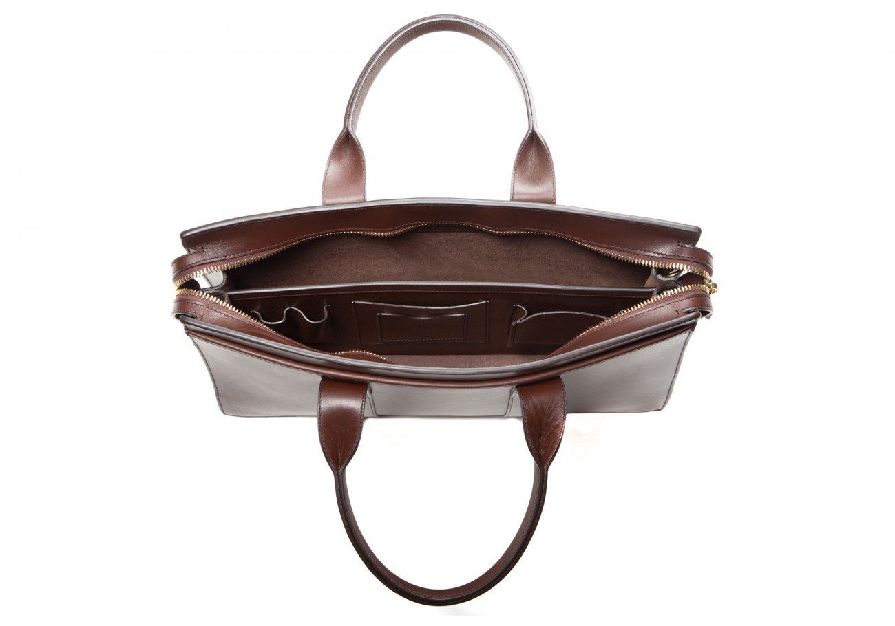 Leather Zip Top Briefcase Double Chocolate4