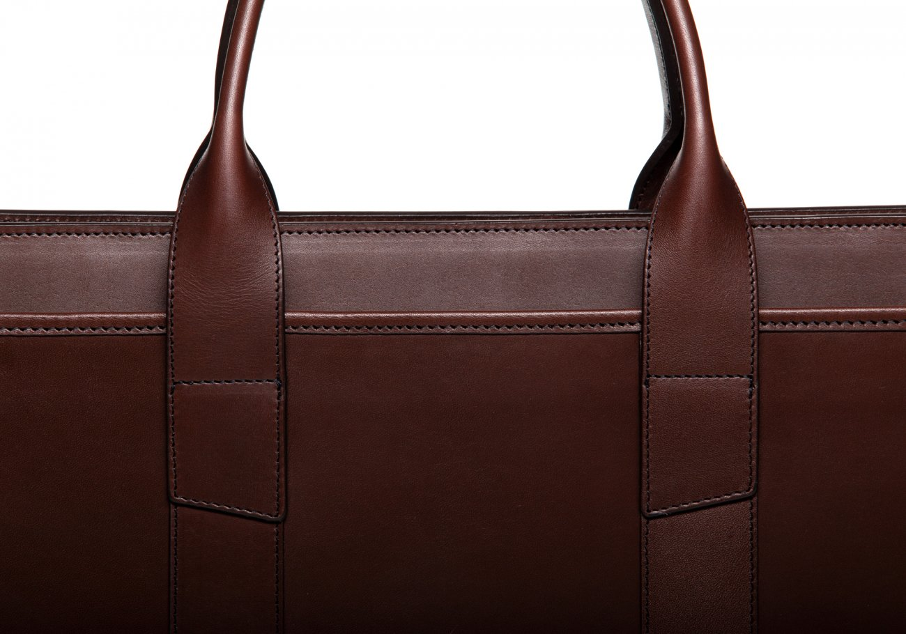 Leather Zip Top Briefcase Double Chocolate5