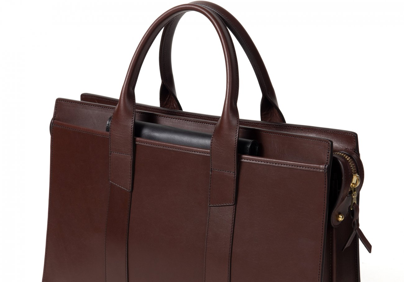 Leather Zip Top Briefcase Double Chocolate7