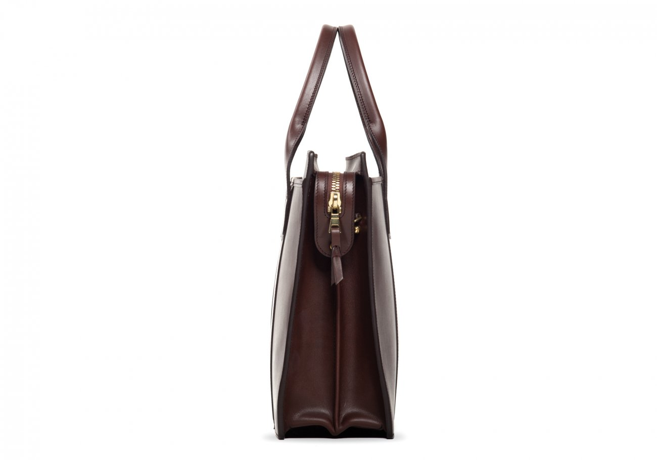Leather Zip Top Briefcase Double Chocolate8
