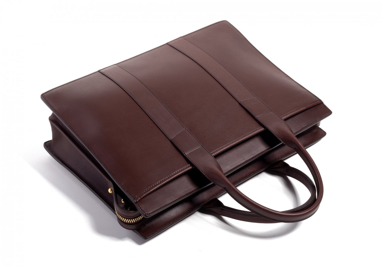 Leather Zip Top Briefcase Double Chocolate9
