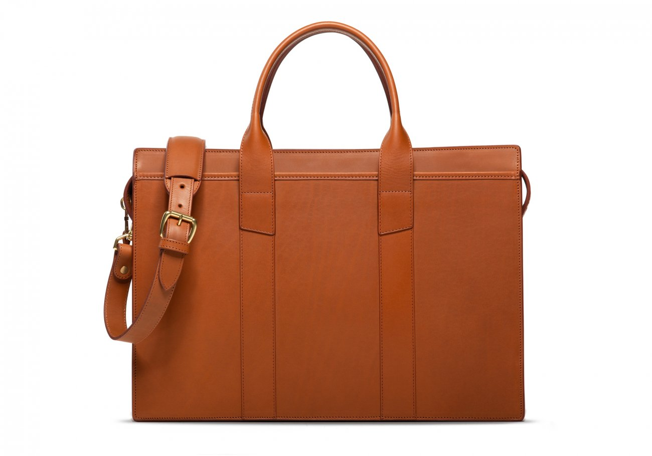 Leather Zip Top Briefcase Double Cognac2