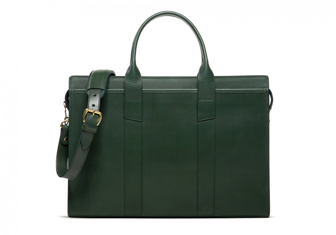 Leather Zip Top Briefcase Double Green1