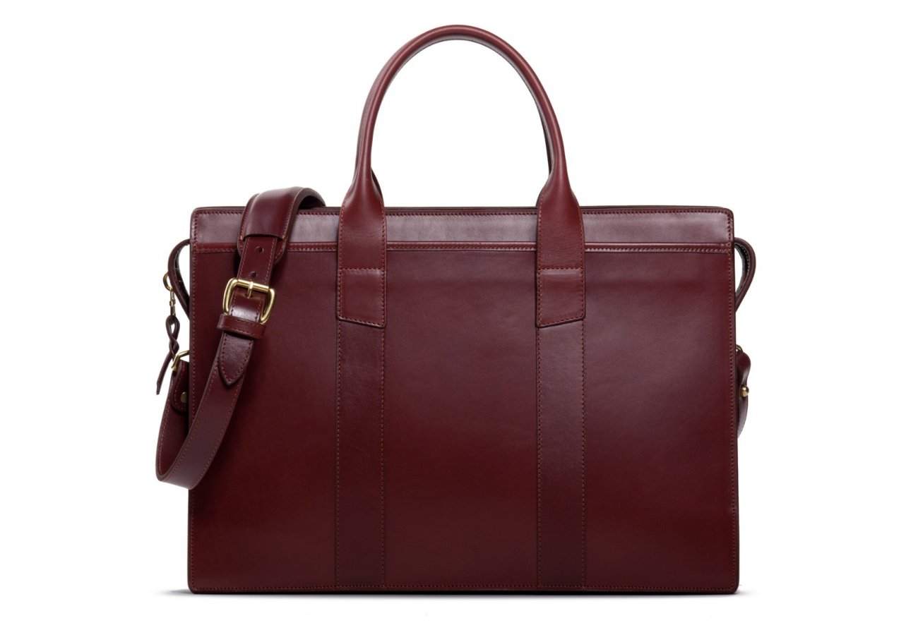 Leather Zip Top Briefcase Double Maroon1