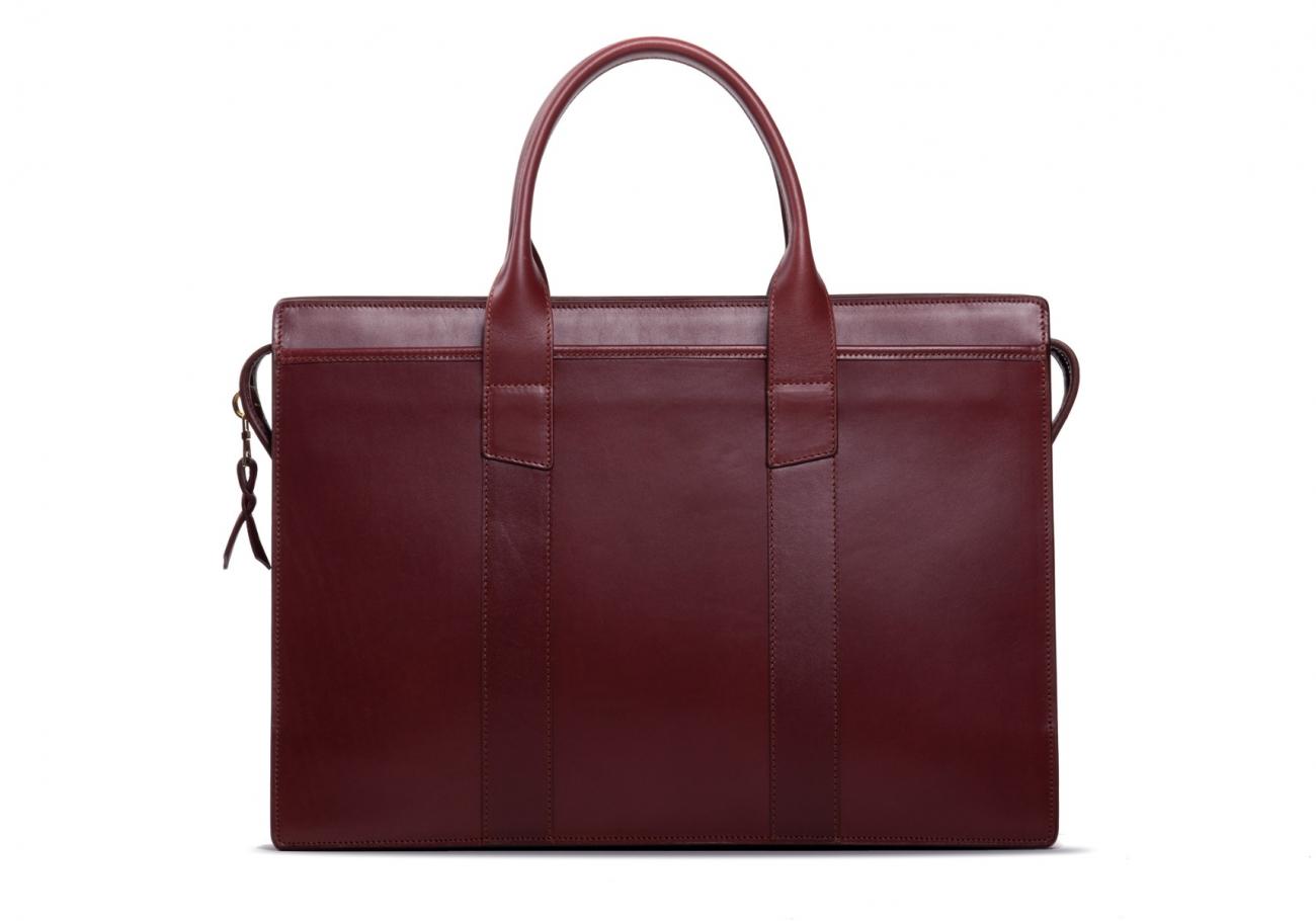 Leather Zip Top Briefcase Double Maroon2 1