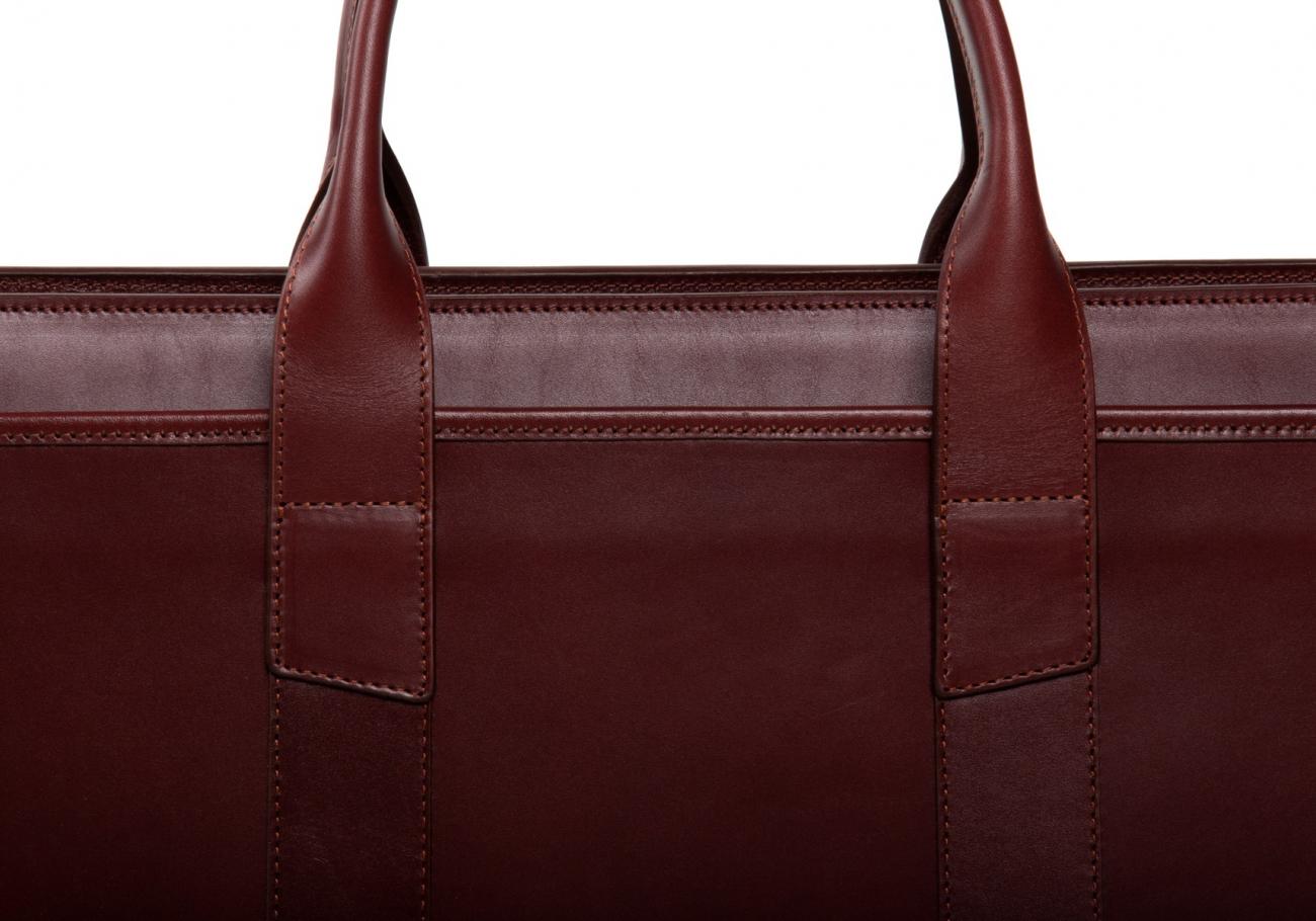 Leather Zip Top Briefcase Double Maroon8 2