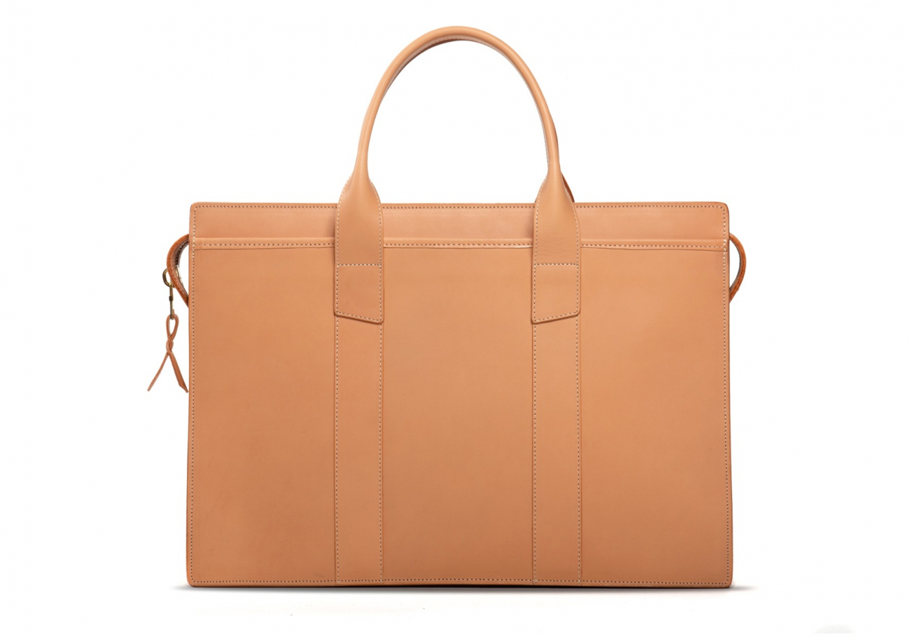 Leather Zip Top Briefcase Double Natural2 1