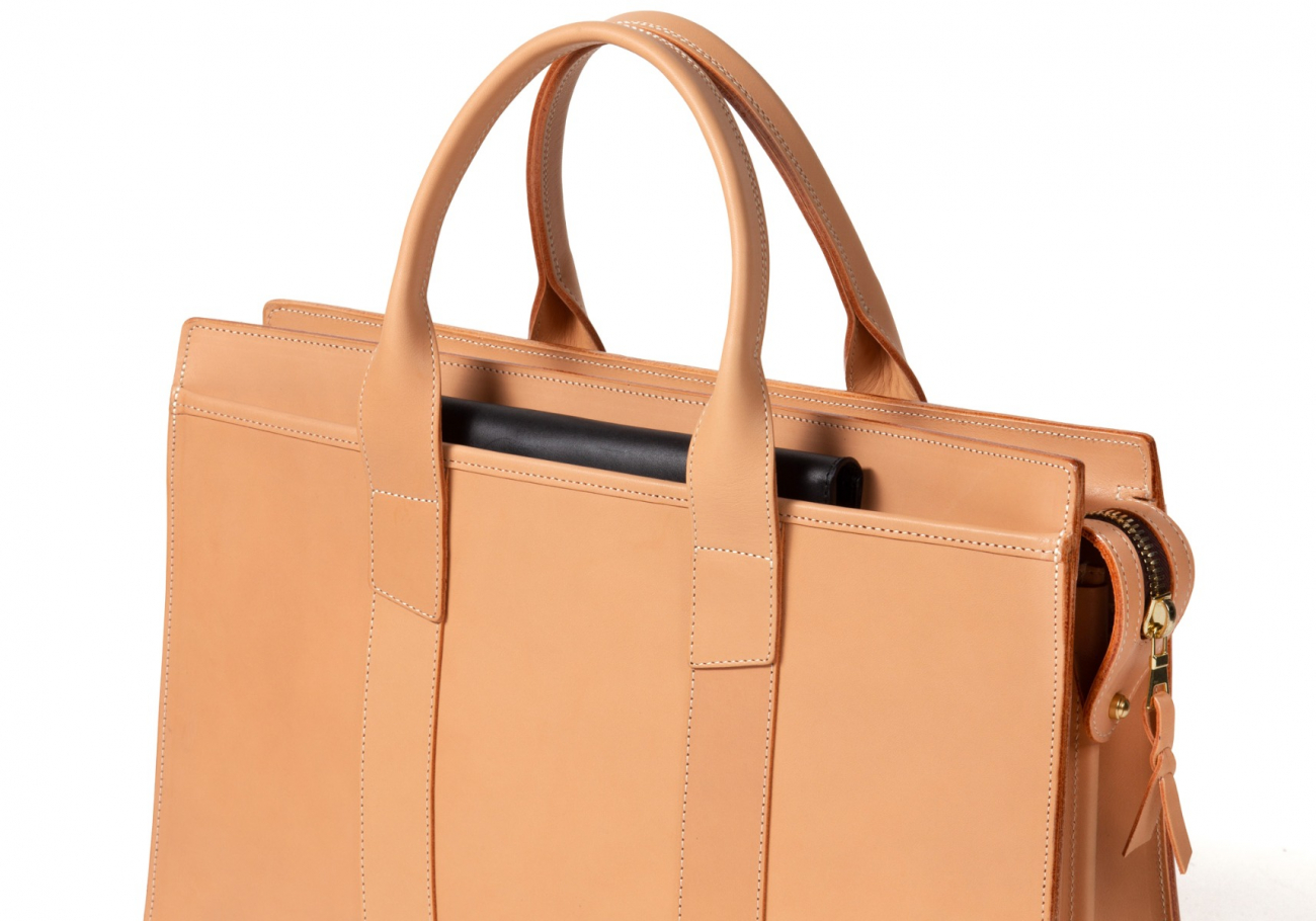 Leather Zip Top Briefcase Double Natural8 1