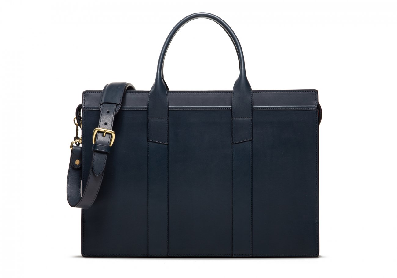 Leather Zip Top Briefcase Double Navy2