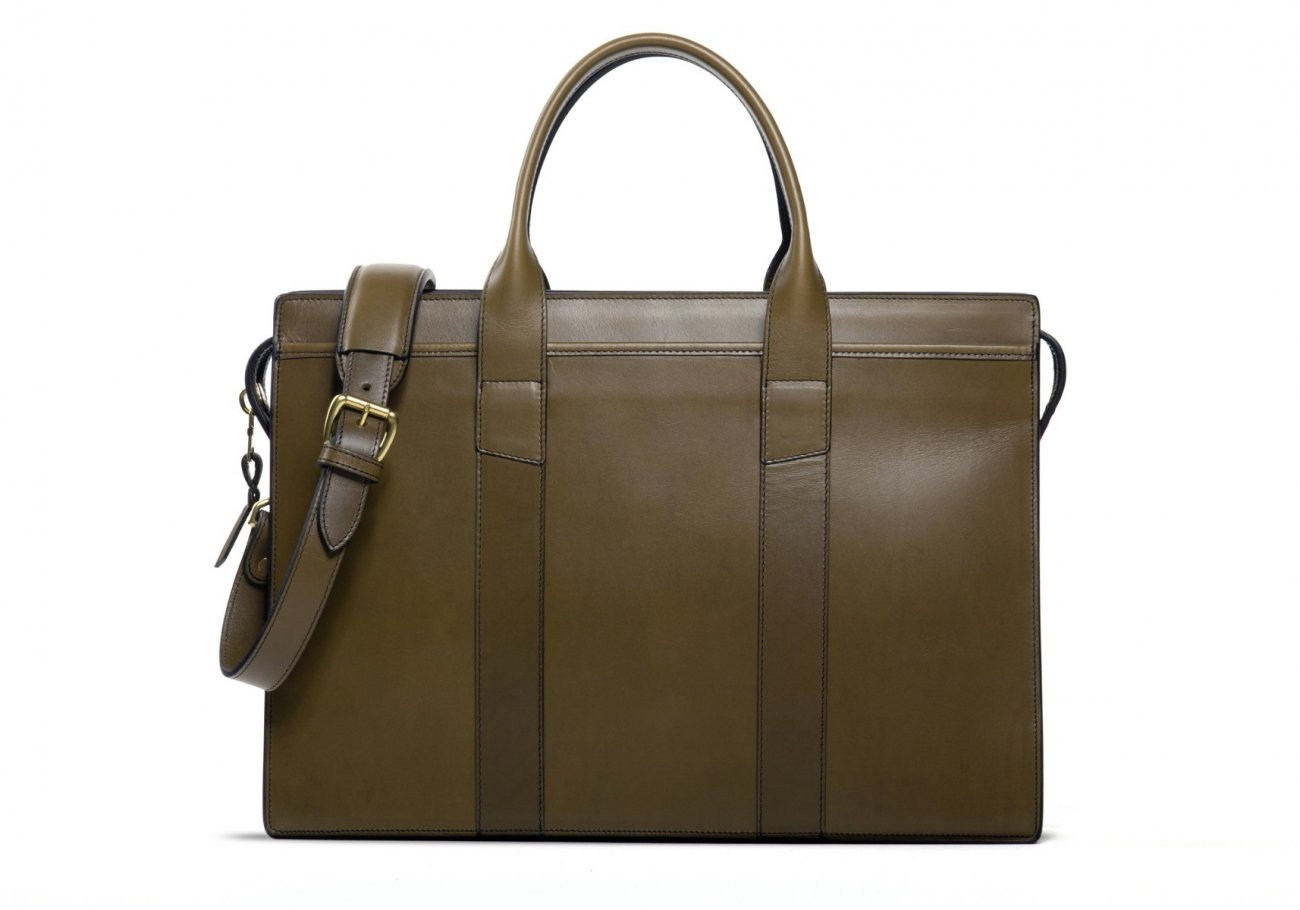 Leather Zip Top Briefcase Double Olive 1