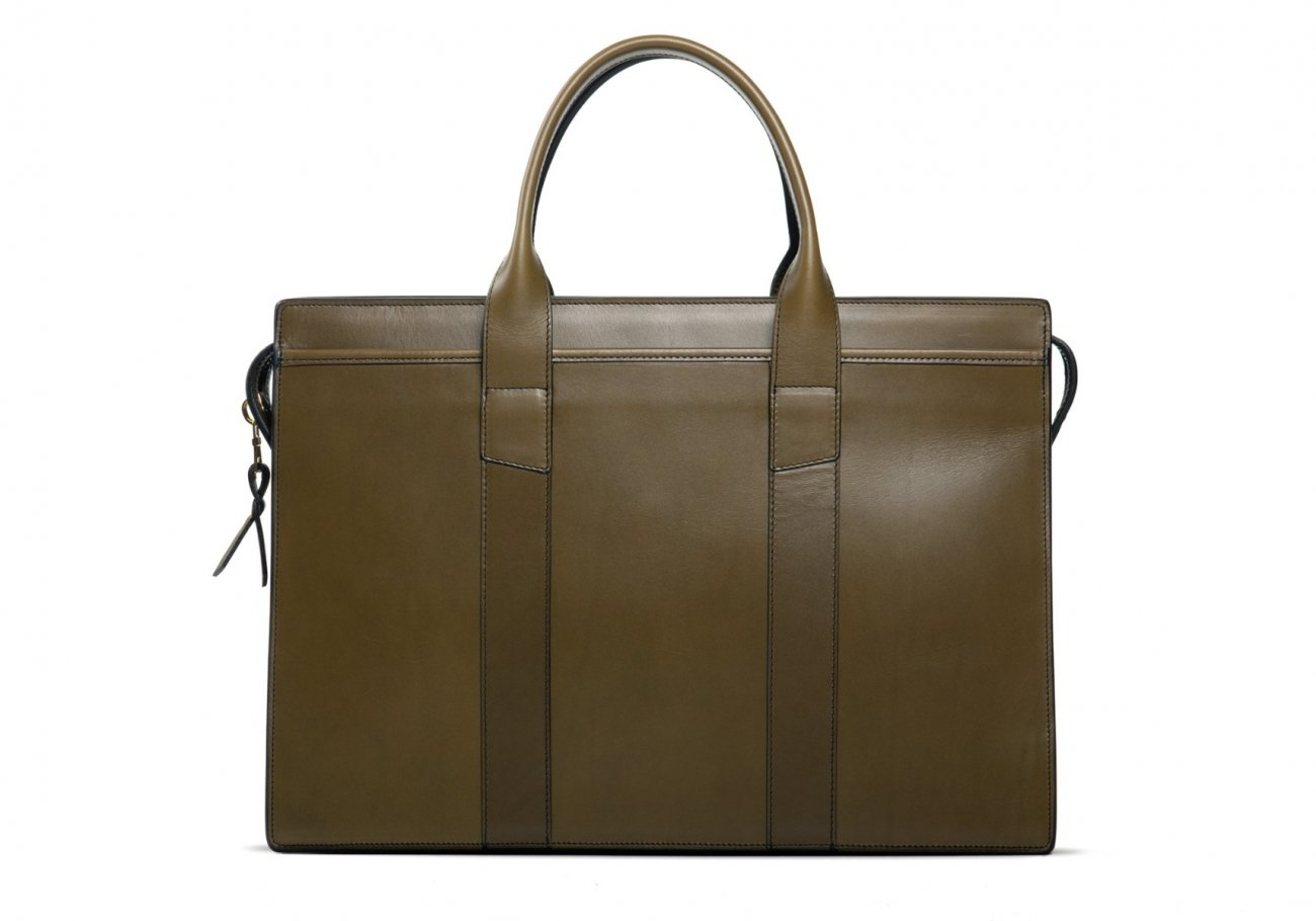 Leather Zip Top Briefcase Double Olive 2
