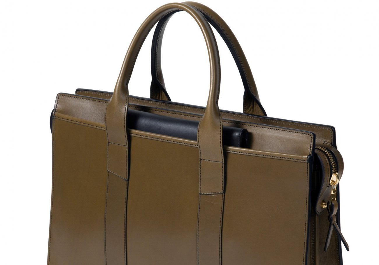 Leather Zip Top Briefcase Double Olive 6