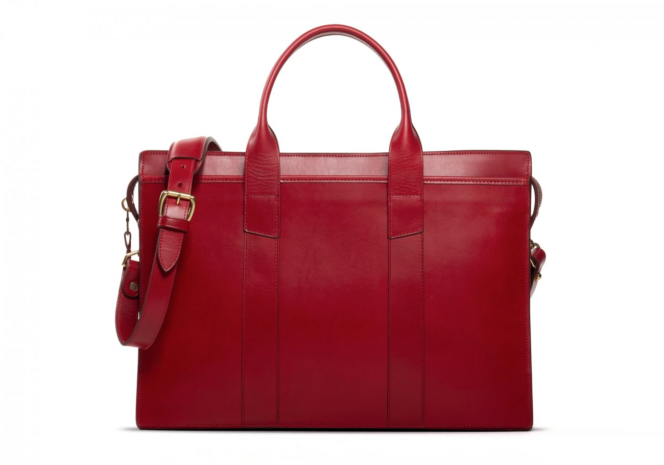 Leather Zip Top Briefcase Double Red1