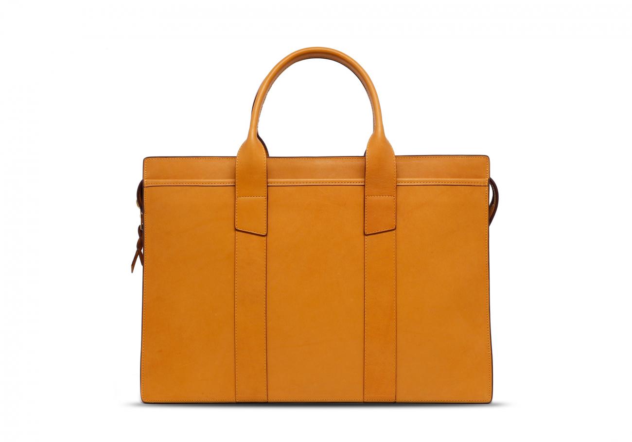 Leather Zip Top Briefcase Ochre1